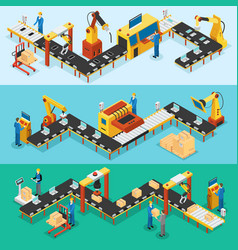 Isometric industrial factory horizontal banners vector