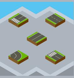 isometric road set of single-lane asphalt plane vector image