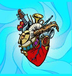 Jazz orchestra musical heart vector