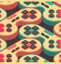 joystick retro seamless pattern gampad game vector image