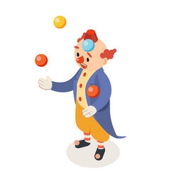 juggler clown isometric circus joke fun party vector image
