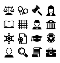 Law and Justice Icons Set vector image