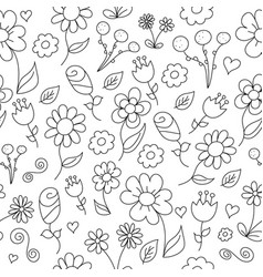 Line drawing of simple floral pattern vector