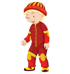 Little boy in red jumpsuit vector