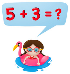 little girl and math question vector image
