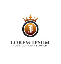 luxury letter j with crown logo design concept vector image