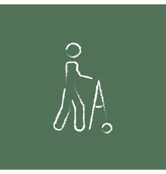 Man with walker icon drawn in chalk vector