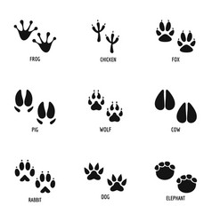 Mark beast icons set simple style vector