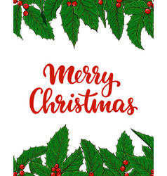 merry christmas lettering with frame border vector image