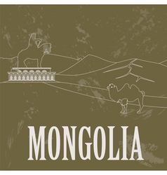 Mongolia Retro styled image vector