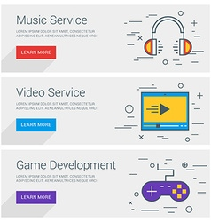 Music Service Video Service Game Development Line vector