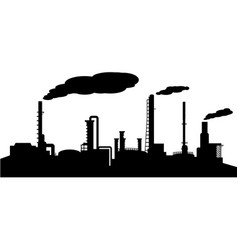 Oil refinery industry silhouette vector