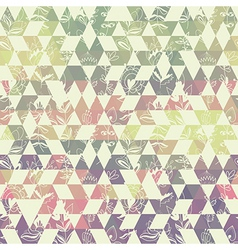 pattern geometric with triangle and plant elements vector image
