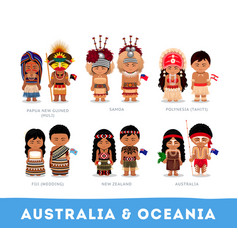 People in national clothes australia and oceania vector
