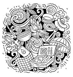 picnic cartoon doodle funny design vector image