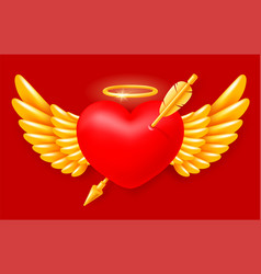 pierced angel heart with wings and halo vector image