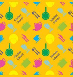 Pixel art kitchen utensil pattern vector