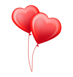 red glossy helium balloons in shape of hearts vector image