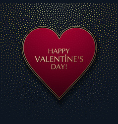 red heart on a dark background with gold dots vector image