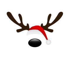 reindeer horns and santa hat cap mask for vector image
