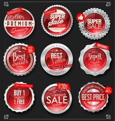 retro vintage silver and red badges and labels vector image