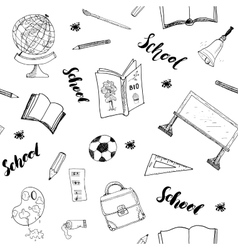 School seamless pattern handdrawn doodles vector