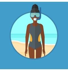 Scuba diver on the beach vector