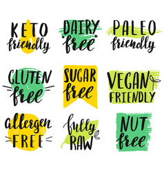 Set hand lettered modern diet restriction signs vector
