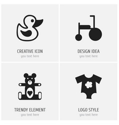 set of 4 editable infant icons includes symbols vector image