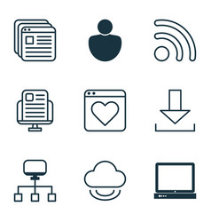 Set of 9 world wide web icons includes human vector