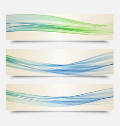 Set of banners transparent waves of smoke vector