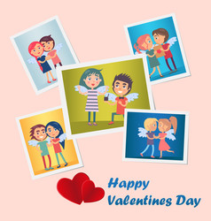 set of bright cute happy valentines day postcards vector image
