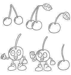 set of cherry vector image
