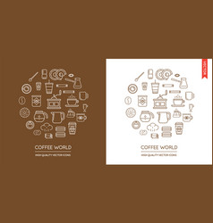 set of coffee modern flat thin icons inscribed in vector image