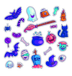 set of colorful halloween icons vector image