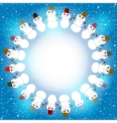 Set of cute cartoon snowmen round frame for text vector image