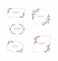 set of floral frames wedding ornament concept vector image