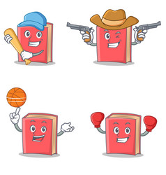 Set of red book character with baseball cowboy vector