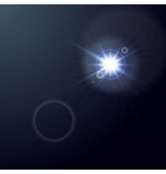 Shiny light lens flare on dark blue background vector image