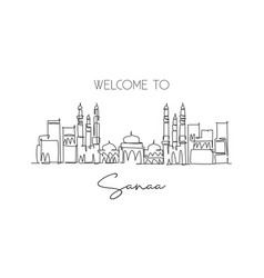 single continuous line drawing sanaa city vector image