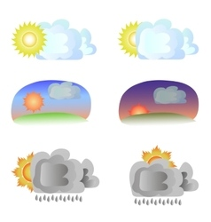 Six variants of weather - sun and clouds vector
