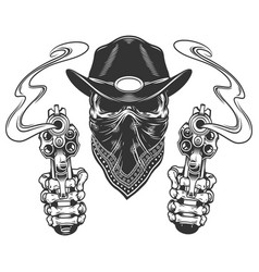 Skull in cowboy hat and scarf vector