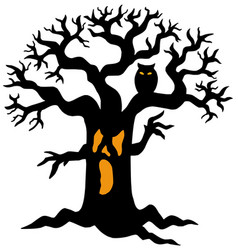 Spooky tree silhouette vector