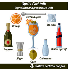 Spritz cocktail infographic set isolated vector