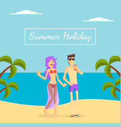 summer holiday banner template happy young couple vector image