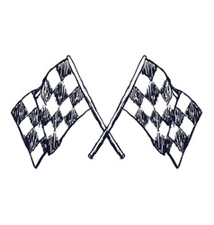 two checker race flags crossed doodle style vector image