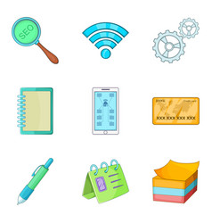 user friendly icons set cartoon style vector image