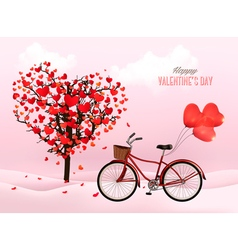 Valentines Day background with a heart shaped tree vector