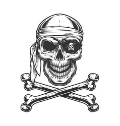 Vintage monochrome pirate skull vector