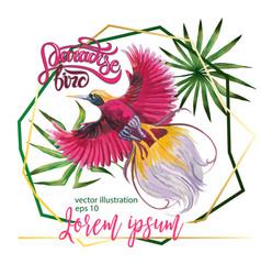 Watercolor beautiful tropical bird vector
